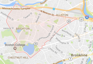 Map of Brighton, MA