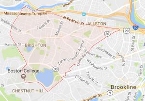 Map of Brighton, MA
